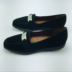 Easy Spirit Parade Black Suede Loafers - Size 6.5